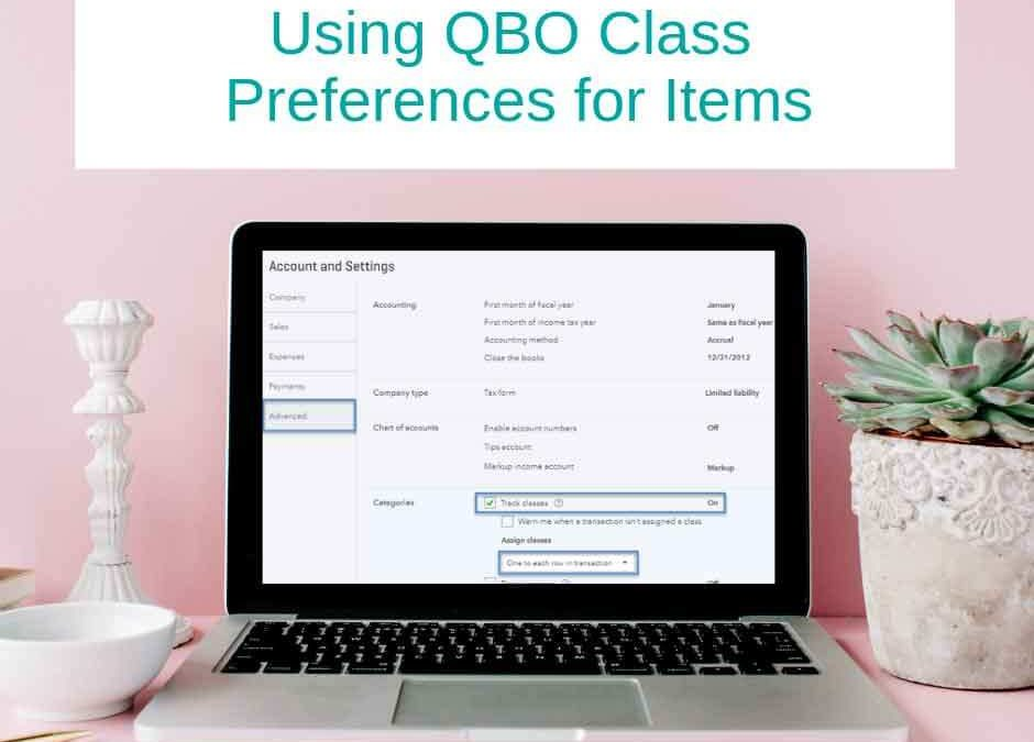 Using QBO Class Preferences for Items